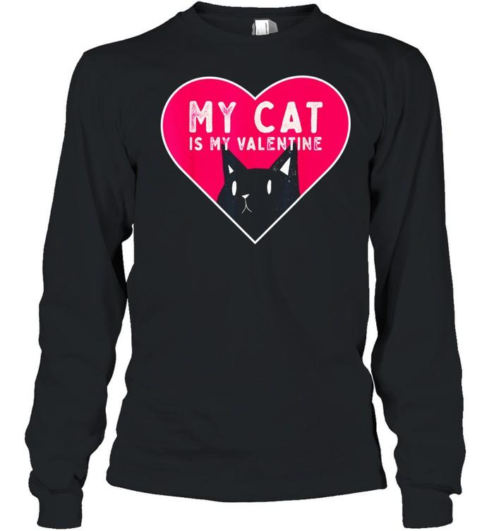 My Cat is My Valentine Kitten Love Heart shirt Long Sleeved T-shirt