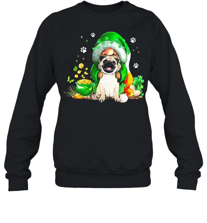 The Gnome hug Pug st patricks day shirt Unisex Sweatshirt