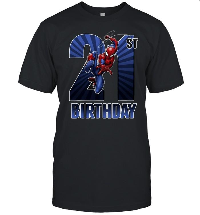Marvel Spider-Man Swinging 21St Birthday Graphic T-shirt