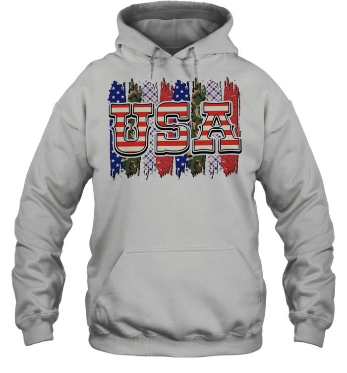 Camo american flag shirt Unisex Hoodie