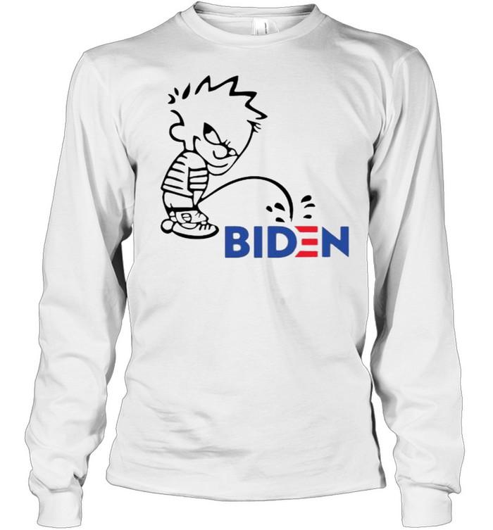 Calvin Peeing On Biden Harris  Long Sleeved T-shirt