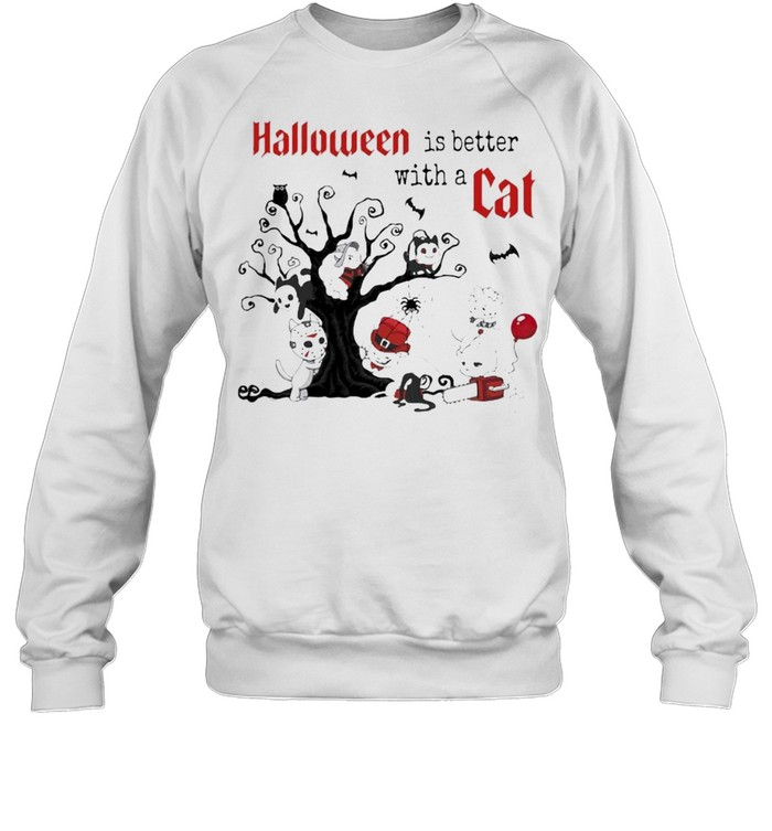 Halloween Is Better with a Cats Horror Characters On Tree  Unisex Sweatshirt